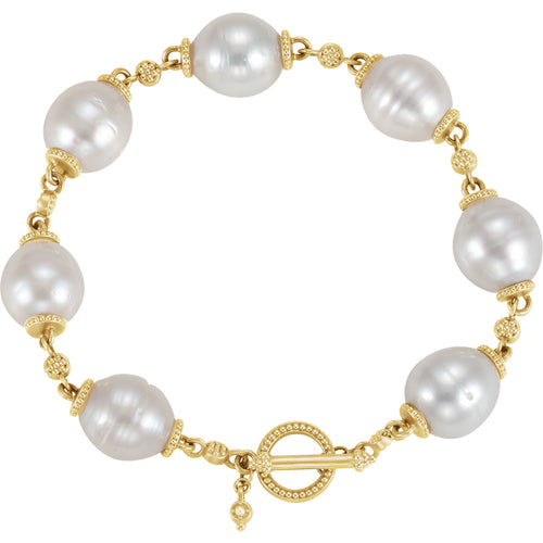 14K Yellow South Sea Pearl Bracelet - Crestwood Jewelers