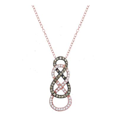 10K ROSE GOLD BROWN DIAMOND DOUBLE VERTICAL INFINITY PENDANT 1/4 CTTW