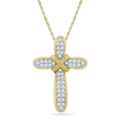 10K YELLOW GOLD ROUND DIAMOND BOUND CROSS PENDANT 1/8 CTTW - Crestwood Jewelers
