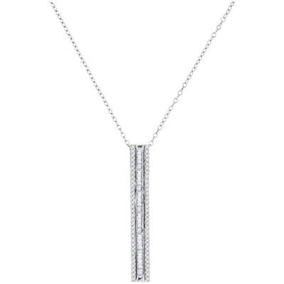 10KT WHITE GOLD ROUND BAGUETTE DIAMOND VERTICAL BAR PENDANT 1/2 CTTW