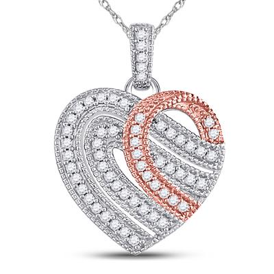 10K TWO-TONE GOLD ROUND DIAMOND HEART MILGRAIN STRIPE PENDANT 1/5 CTTW