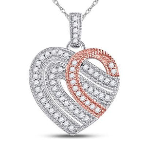 10K TWO-TONE GOLD ROUND DIAMOND HEART MILGRAIN STRIPE PENDANT 1/5 CTTW - Crestwood Jewelers