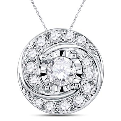 14K WHITE GOLD ROUND DIAMOND SWIRL SOLITAIRE PENDANT 1/2 CTTW - Crestwood Jewelers