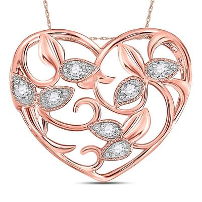 14K ROSE GOLD ROUND DIAMOND FLORAL HEART PENDANT 1/6 CTTW