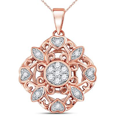 14K ROSE GOLD ROUND DIAMOND DIAGONAL SQUARE HEART CLUSTER PENDANT 1/4 CTTW - Crestwood Jewelers
