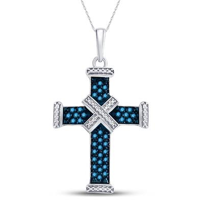 STERLING SILVER BLUE DIAMOND BOUND CROSS PENDANT 1/4 CTTW - Crestwood Jewelers
