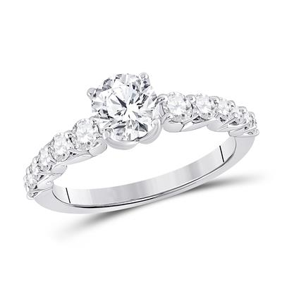 14K WHITE GOLD ROUND DIAMOND SOLITAIRE BRIDAL ENGAGEMENT RING 1-3/8 CTW (CERTIFIED) - Crestwood Jewelers