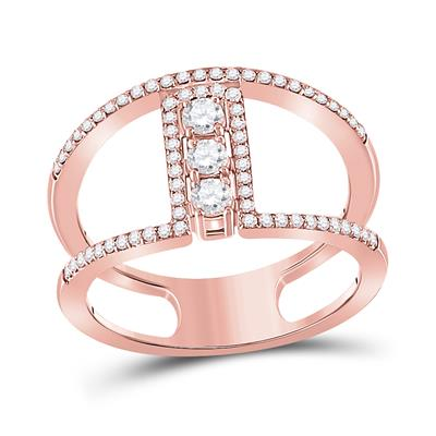 10K ROSE GOLD ROUND DIAMOND FASHION 3-STONE RING 3/8 CTTW