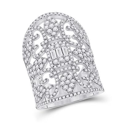 14K WHITE GOLD BAGUETTE DIAMOND FASHION COCKTAIL RING 2-1/2 CTTW - Crestwood Jewelers