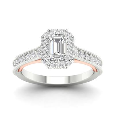 1 CTTW Diamond Emerald Cut Two Tone Engagement Ring