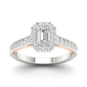 1 CTTW Diamond Emerald Cut Two Tone Engagement Ring - Crestwood Jewelers