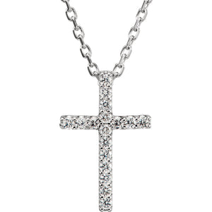 "14K White .085 CTW Diamond Cross 16"" Necklace - Crestwood Jewelers"