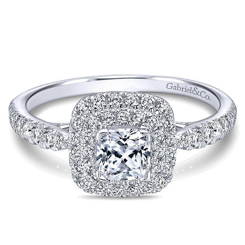 Gabriel & Co. Claire 14k White/Pink Gold Cushion Cut Halo  Engagement Ring - Crestwood Jewelers