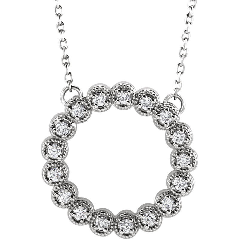 "14K White 1/4 CTW Diamond Circle 16-18"" Necklace - Crestwood Jewelers"