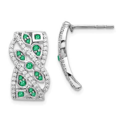 14k White Gold Diamond And Emerald Fancy Earrings - Crestwood Jewelers