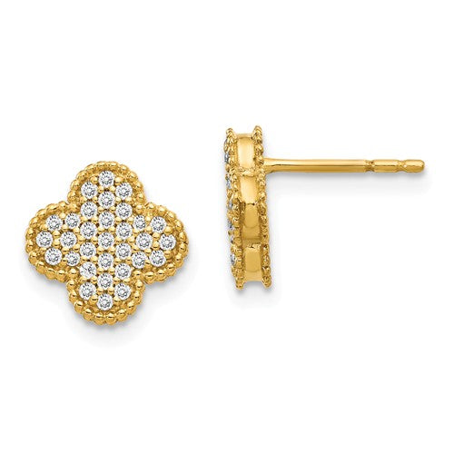 14k Diamond Quatrefoil Post Earrings - Crestwood Jewelers