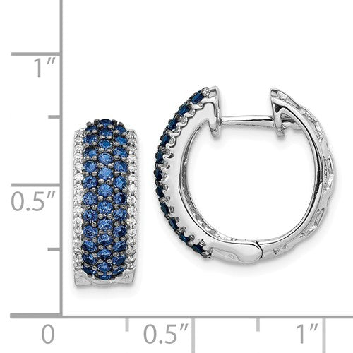 14k White Gold Diamond And Sapphire Earrings - Crestwood Jewelers