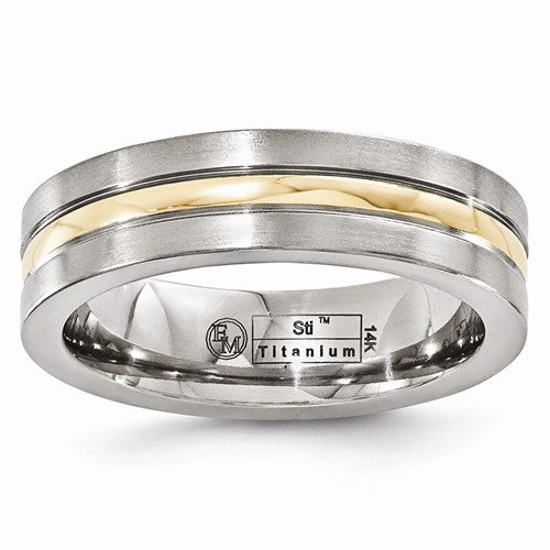 Edward Mirell Titanium And 14K Brushed And Polished 6mm Band