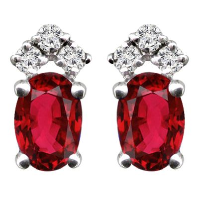 14K Ruby & Diamond Earrings - Crestwood Jewelers