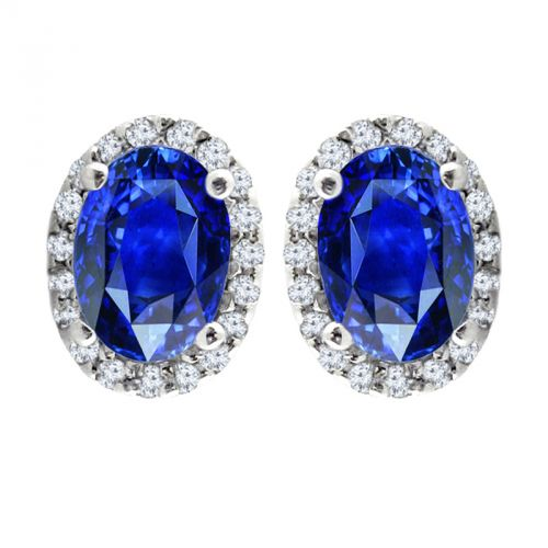 14K White Gold Diamond Halo & Sapphire Earrings - Crestwood Jewelers