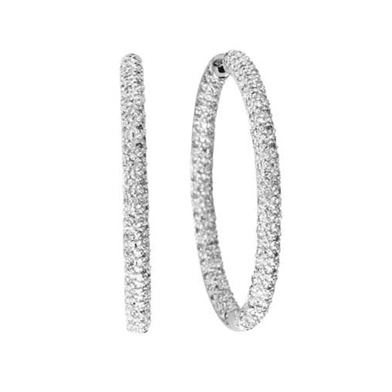 14k 1.00ctw Diamond Hoop Earrings