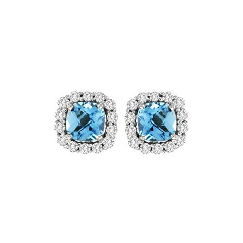 14k Blue Topaz And Diamond Earring - Crestwood Jewelers