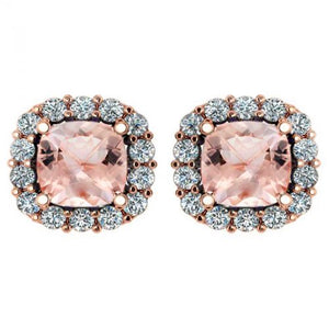 14k Cushion Cut Morganite And Diamond Earring - Crestwood Jewelers