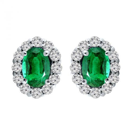 14k Emerald And Diamond Earrings - Crestwood Jewelers