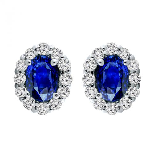 14K Sapphire & Diamond Halo Earrings - Crestwood Jewelers