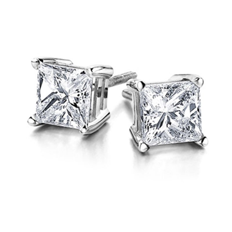 14k Gold 1.00ctw Princess Cut Diamond Stud Earring