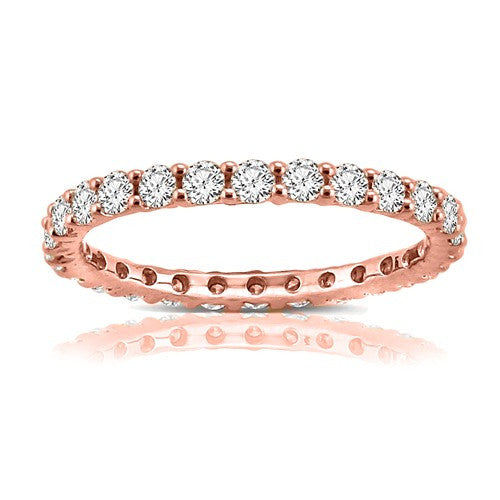 14K Rose Gold 1CT Shared Prong Eternity Band - Crestwood Jewelers