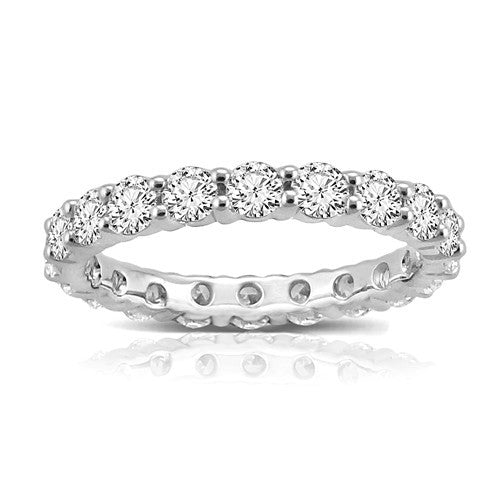 14K White Gold 2CT Shared Prong Eternity Band - Crestwood Jewelers