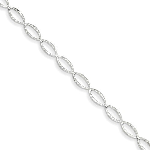 14k White Gold Polished Oval Link Bracelet - Crestwood Jewelers
