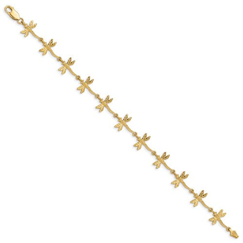 14k Polished And Textured Dragonfly 7.5 Inch Bracelet - Crestwood Jewelers