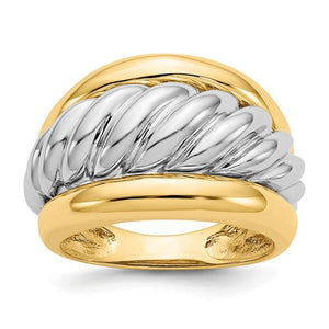14k Two-Tone Polished Twisted Dome Ring - Crestwood Jewelers