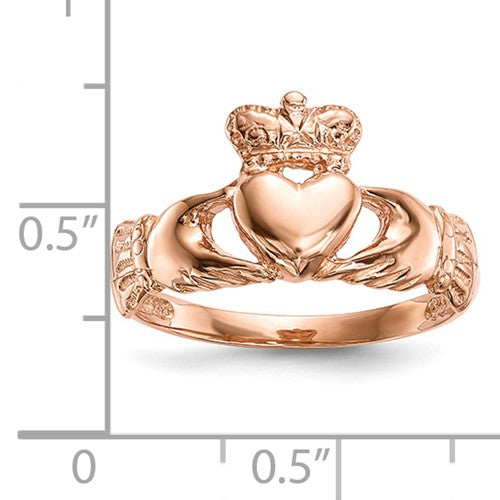 14k Rose Gold Polished Claddagh Ring - Crestwood Jewelers