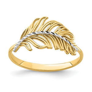 14K With White Rhodium Feather Ring - Crestwood Jewelers