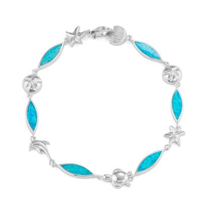 "Sterling Silver 7.25"" Marquise Shaped Blue Inlay Opal with Sea Life Bracelet - Crestwood Jewelers"