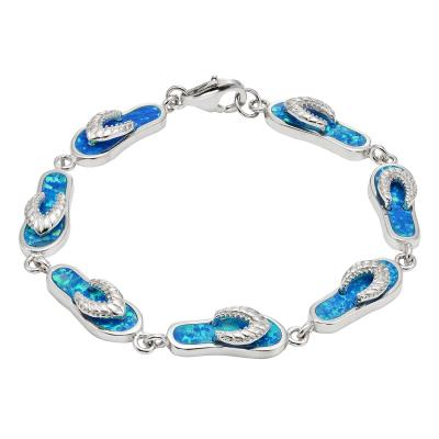 Sterling Silver 7in. Blue Inlay Opal Linked Flip-Flop Bracelet