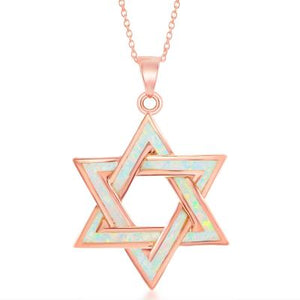 Rose Gold Overlay Opal Star of David Pendant - Crestwood Jewelers