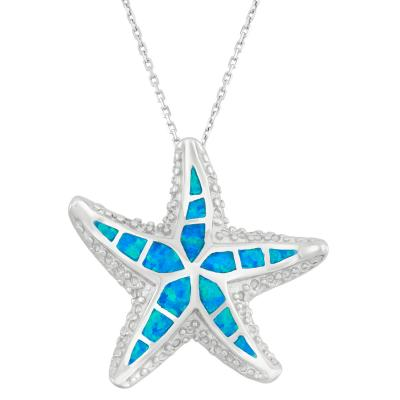 Sterling Silver Blue Inlay Opal Starfish Pendant