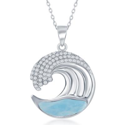 Sterling Silver Larimar Wave Design with CZ's Pendant - Crestwood Jewelers