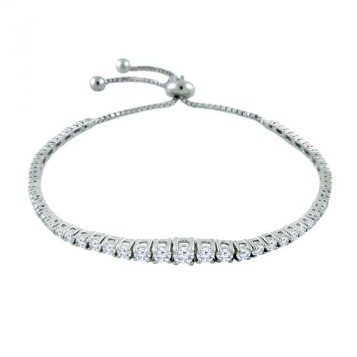 14K Graduated Diamond Tennis Bolo Bracelet