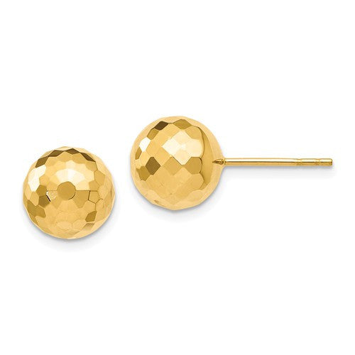14k 9.4MM D/C Ball Earrings - Crestwood Jewelers