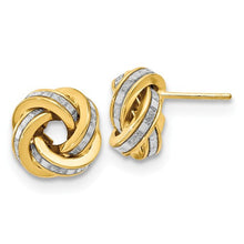 14K Polished Glimmer Infused Knot Earrings - Crestwood Jewelers