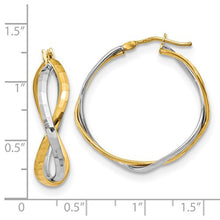 14K Two-Tone Polished Criss Cross Hoop Earrings - Crestwood Jewelers