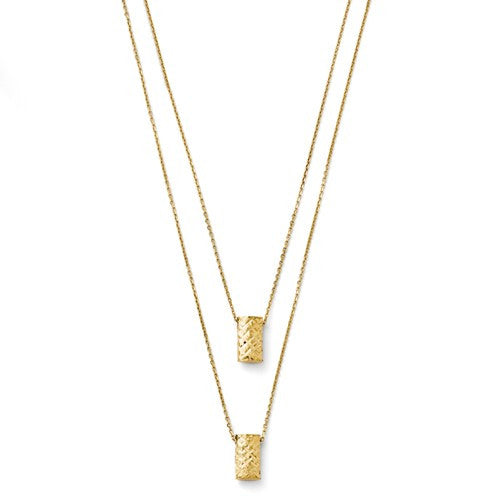 14k Two Layer Diamond-Cut Necklace