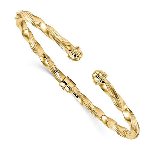 14k Polished Textured Hinge Cuff Bangle - Crestwood Jewelers