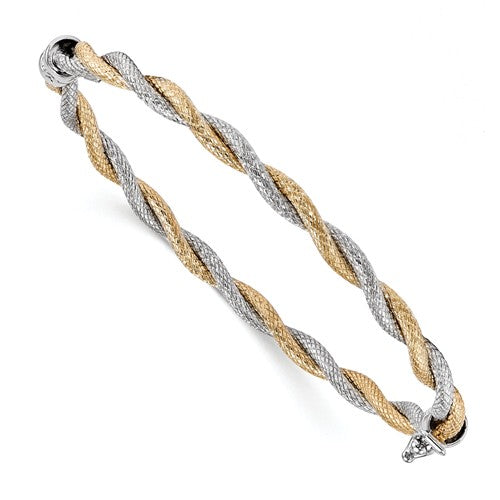 Leslie's 14k Two-Tone Textured Hinged Bangle - Crestwood Jewelers