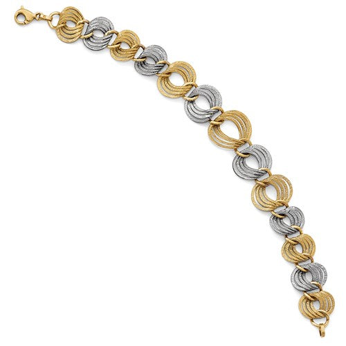 14k Two-Toned Fancy Bracelet